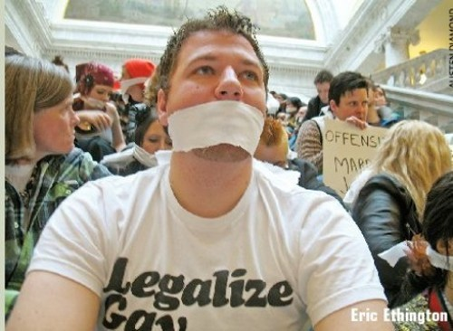 Activist for Equality Eric Ethington protesting legislative indifference to discussing LGBT rights during the 2010 legislative session