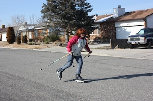 ALWAYS KEEP KNEES BENT WHILE SKATING. IF USING POLES, DON'T DRAG THEM ON THE GROUND. - JOHN SWENSON