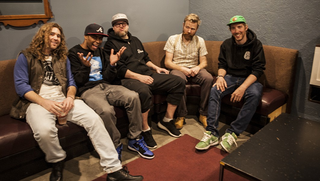 Left to right: DJ Bentley, DJ Luva Luva, J Godina, DJ Feral Cat, Shields