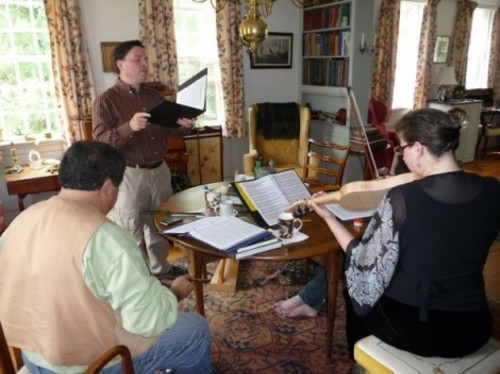 Christopher LeCluyse (standing) and Al Cofrin (seated left) rehearse for Chevrefoil