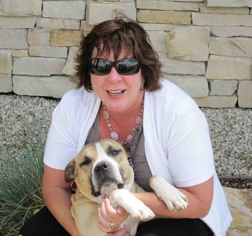 Claudia McMullin with Gregory the pitbull