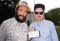 Colby Frazier and Colin Wolf after buying their first Colorado weed in Glenwood Springs