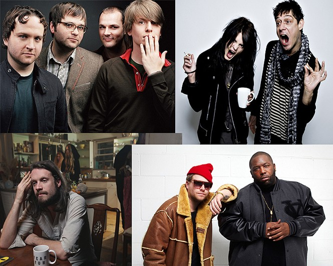 Death Cab For Cutie, The Kills (top), Father John Misty, Run the Jewels (bottom)