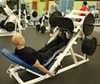 DIFFERENT FOOT POSITIONS ON THE LEG PRESS WORK DIFFERENT LEG MUSCLES. PUT FEET LOW ON THE PLATE AND USE ONLY THE TOES TO WORK THE CALVES. CONTINUE REPS UNTIL THE CALVES BURN.