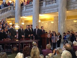 Governor Herbert offers remarks at the ceremonial signing of Senate Bill 296