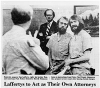 In this photo from The Salt Lake Tribune, Ron and Dan Lafferty receive instructions from a court official during their first court appearance, in 1984.