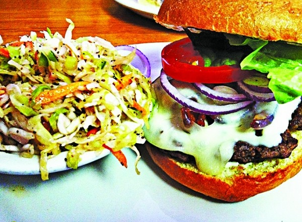Left Fork Grill's cheeseburger & coleslaw