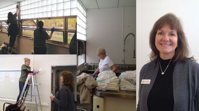 (Left) Volunteers help convert a vacant schoolhouse into a hospice-care facility for the homeless. (Right) Kim Correa, executive director of INN Between.
