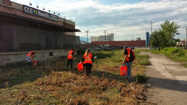 Members of the Clean Streets Team picking up around the shelter area in mid-April.