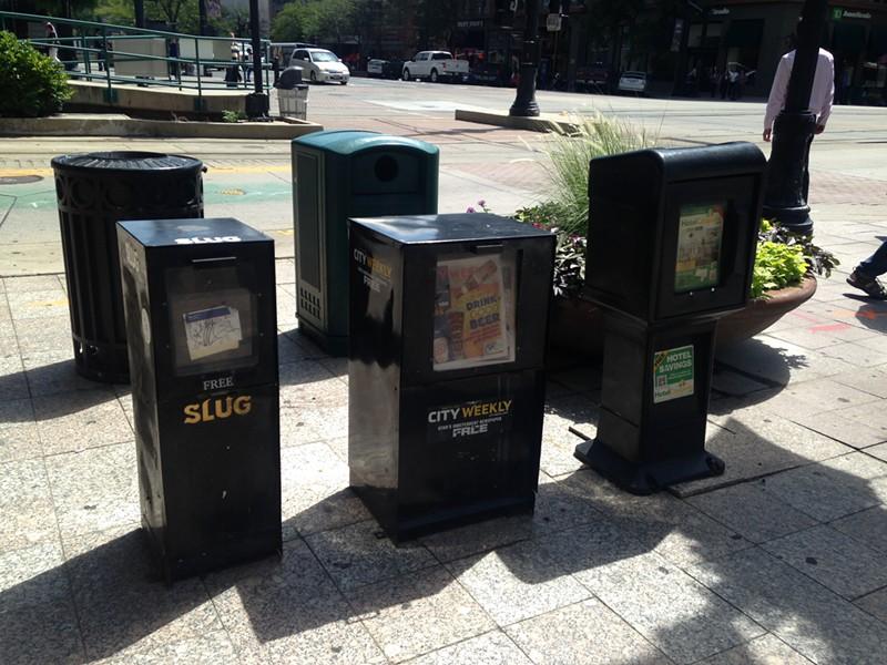 News racks along Main Street