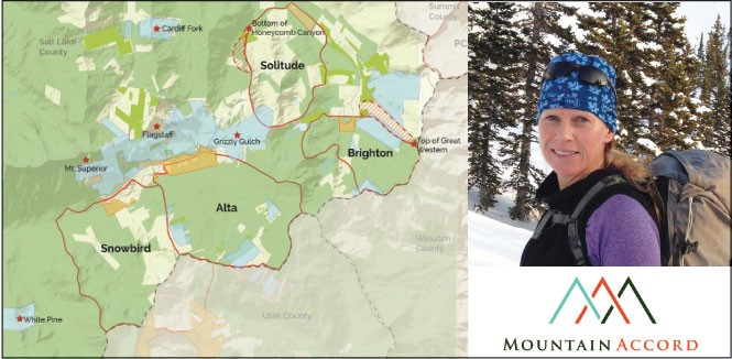 Right: Laynee Jones, Mountain Accord program manager. Left: The blueprint would allow some development in exchange for - protection of private land, shaded in blue.