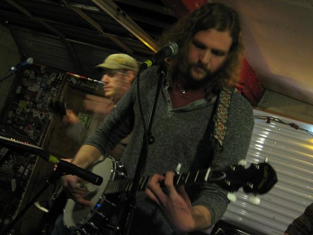 Rob LeCheminant (foreground) and Alex Gilvarry (background) performing with L'anarchiste at Kilby - GAVIN SHEEHAN