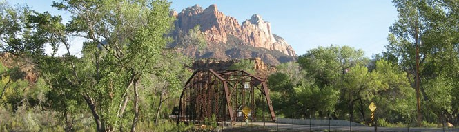 Rockville's one-lane bridge near Zion National Park