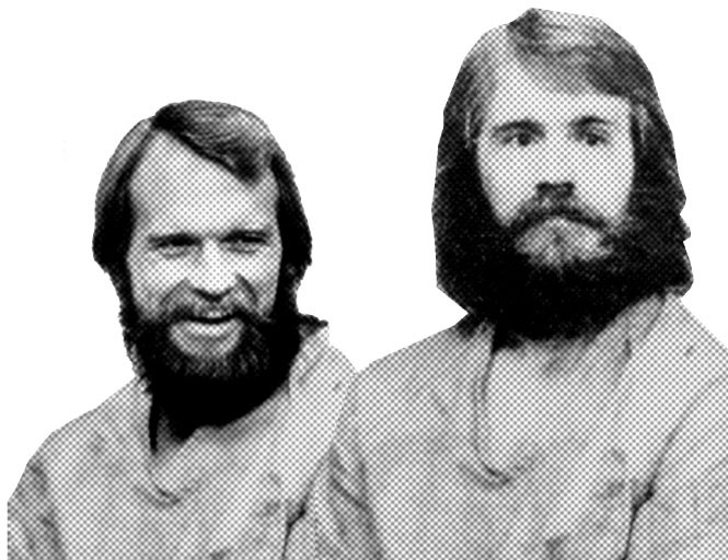 Ron and Dan Lafferty as pictured in the Deseret News and The Salt Lake Tribune during the coverage of their crime.
