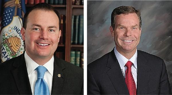 Sen. Mike Lee (left) and Utah Attorney General John Swallow (right)