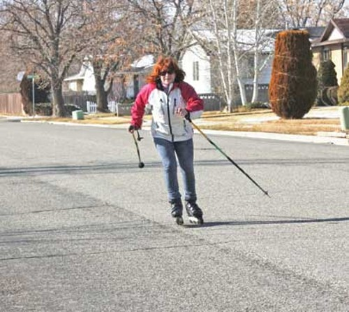 SKI POLES ARE USEFUL WHEN SKATING. FOR BEGINNERS, THEY'RE A GREAT BALANCE AID. FOR EXPERIENCED SKATERS, THEY PROVIDE TRACTION AND STABILITY - JOHN SWENSON