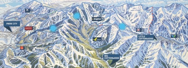 The One Wasatch concept, with blue dots representing a potential connection between resorts.