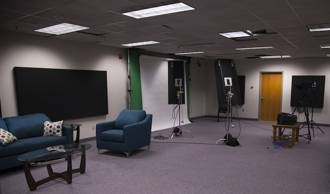 The Standard-Examiner's newsroom now includes a TV-like studio for filming fideo - STEVE HAYNIE