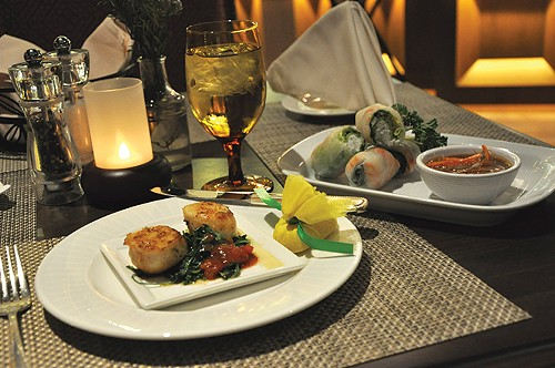 Lucky H Bar & Grill's seared scallops & Vietnamese spring rolls at Little America