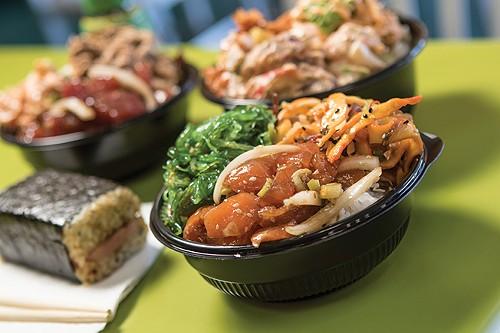 Laid Back Poke Shack's Shoyu Salmon with Seaweed Salad