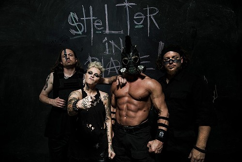 Justin Kier, left, Otep Shamaya, middle left, Aristotle Mihalopoulos, middle right, and Andrew Barnes of Otep. - PR BROWN