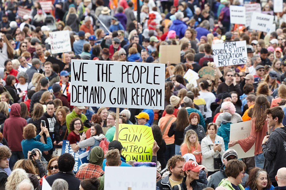 A scene for the March 24 #MarchforOurLives gathering. - SARAH ARNOFF