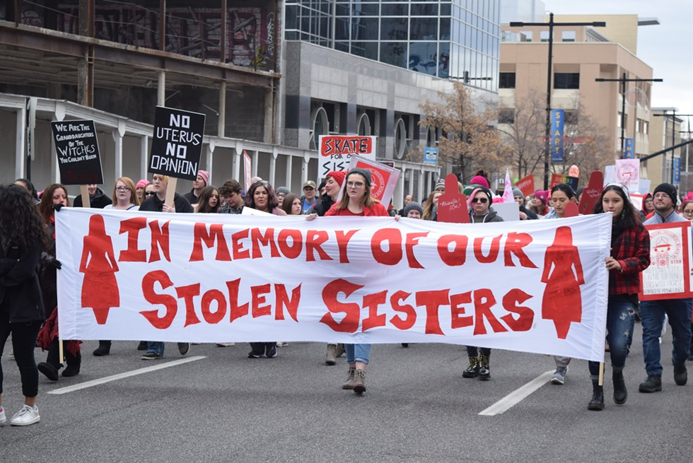PANDOS members underscored the plague of murdered and indigenous women during Saturday's mach. - RAY HOWZE
