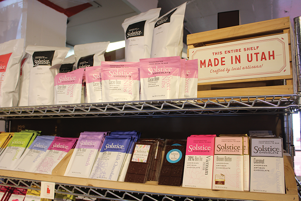 A cross-section of Utah-made chocolates available at Caputo's Market & Deli. According to market statistics, the Beehive State has the biggest sweet tooth in the country, gobbling more than twice the national candy consumption average. - ENRIQUE LIMÓN