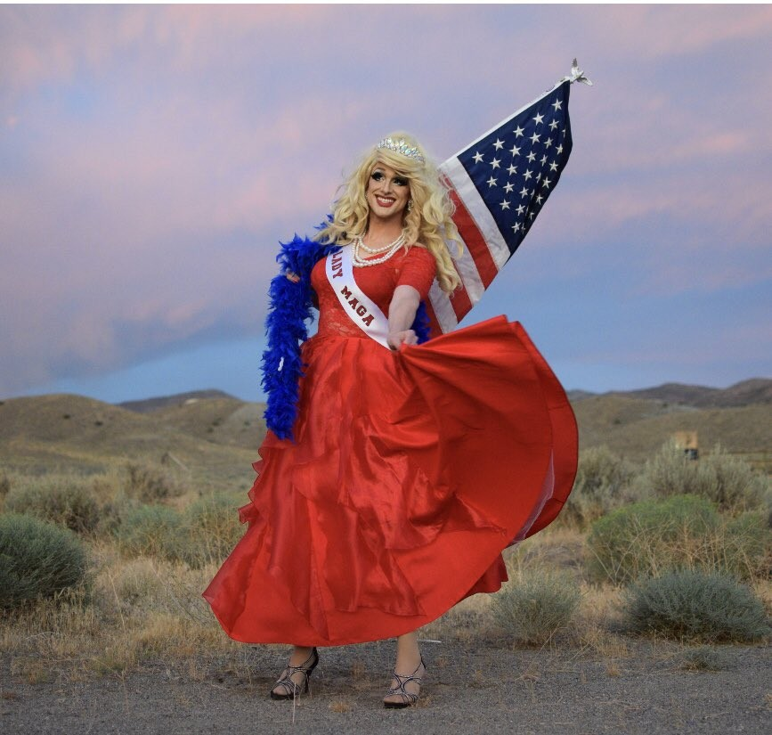 """Liberals never bothered her anyway. """"This is my way of serving my country as a patriot,"""" drag queen Ryanna Woods says of new Lady MAGA persona. - TWITTER/@LADYMAGAUSA"""