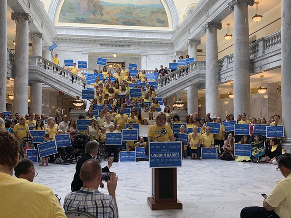 Those with the organization Abortion-Free Utah gathered at the Capitol to support Sen. Daniel McCay's plan to propose a law in the 2020 session that would end elective abortions. - ISAIAH PORITZ