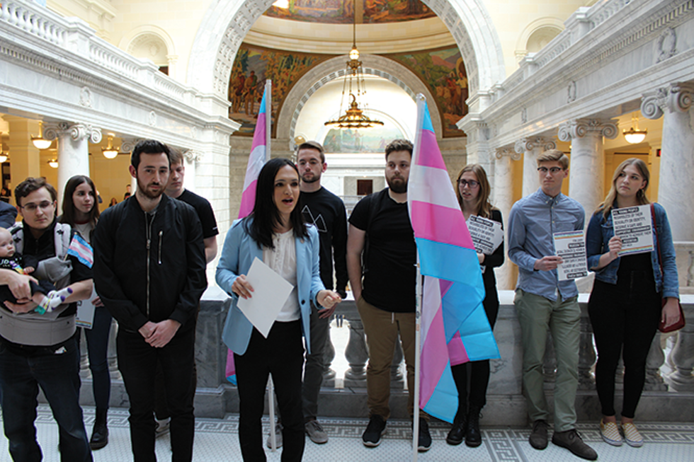 rmiya Fanaeian speaks outside the state House chambers in support of trans rights and awareness. - RAY HOWZE