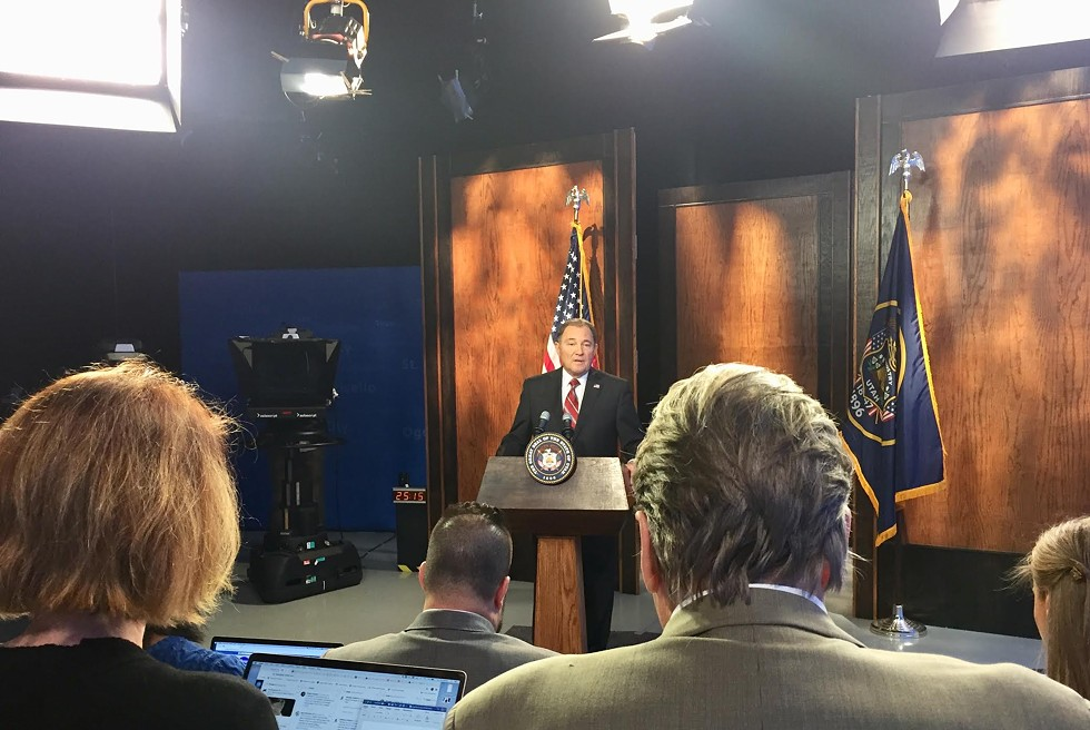Gov. Gary Herbert addresses questions from local media during his monthly news conference inside the PBS Utah studios. - ENRIQUE LIMÓN
