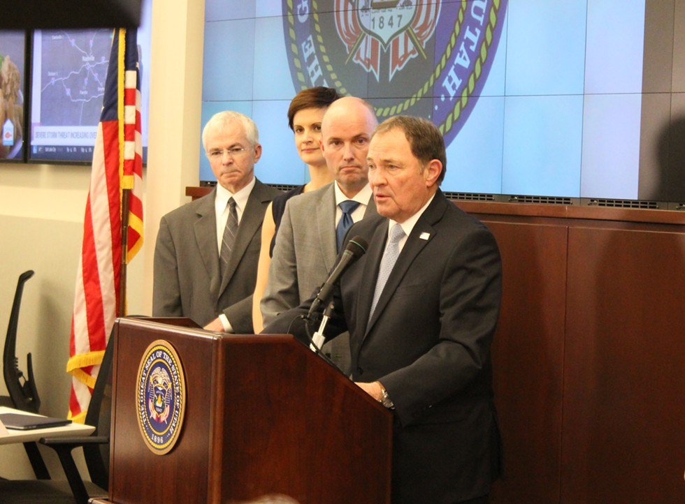 Accompanied by executive director of the Department of Health Joseph Miner, state epidemiologist Angela Dunn and Lt. Gov. Spencer J. Cox, Gov. Gary Herbert announced the creation of a statewide coronavirus task force on Monday, March 2. - ENRIQUE LIMÓN