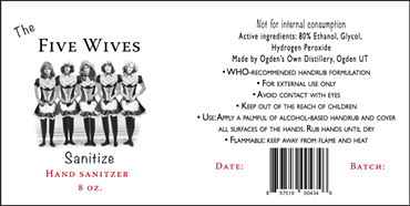 The Five Wives Sanitize label - COURTESY OGDEN'S OWN DISTILLERY
