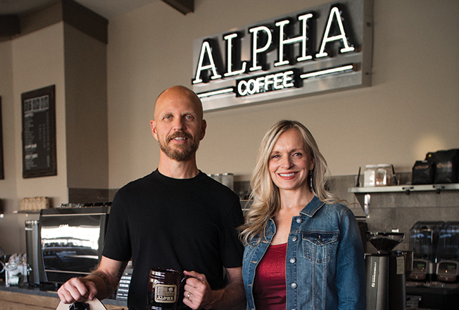 Alpha Coffee owners Carl & Lori Churchill - COURTESY PHOTO
