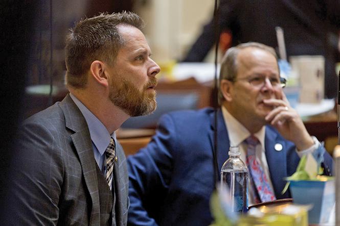 State Sen. Jacob Anderegg, R-Lehi, left, with Sen. David Buxton, R-Roy. - COURTESY OF EVAN COBB, DAILY HERALD