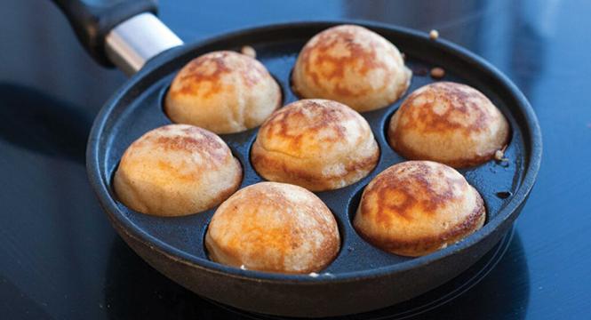 Aebleskiver, Danish pancake balls, defy flatness