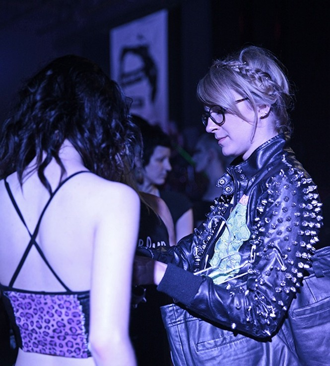 Laura Kiechle styling the Punk-themed UMOCA Vicious Gala Fashion Show in Salt Lake City at The Complex on 6/6/15. - MANICPROJECT