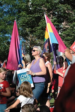 Marriage-equality supporters at City Creek Park June 26, 2015