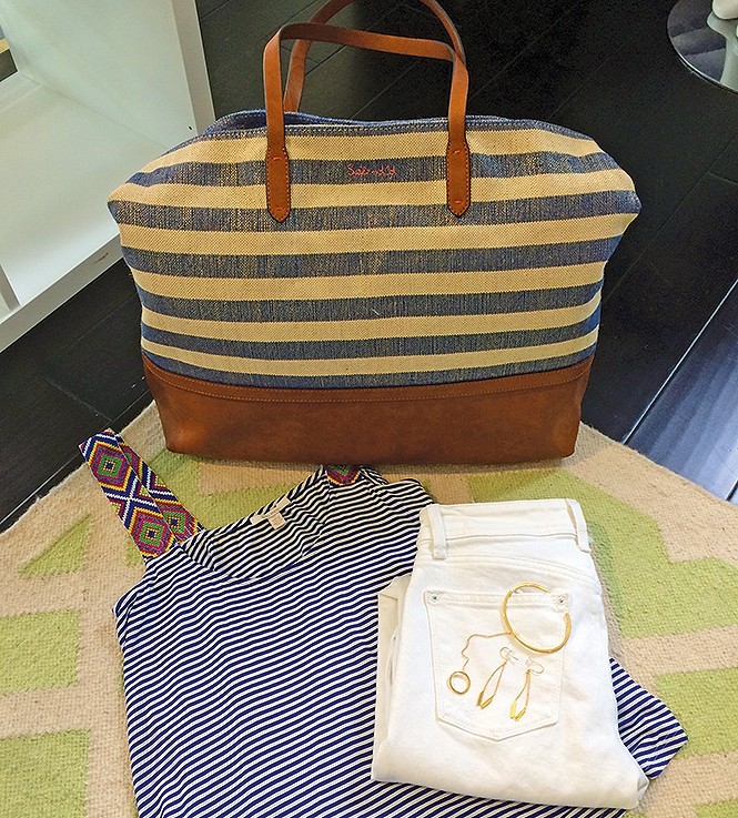 Splendid nautical stripe tote: $118; Gorjana gold earrings: $65; Ella Moss blue & white-striped top with Aztec beading: $126; Gorjana bracelet with ring chain: $85; DLX hybrid jeans, $178