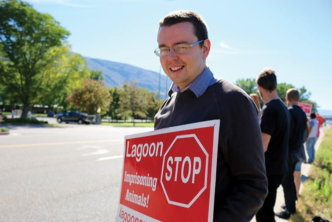 Along with Lexie Levitt, animal-rights activist Jeremy Beckham, above, was arrested for protesting Lagoon. - TK KERN