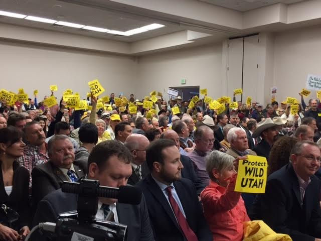 Supporters of both sides of the public lands debate attend the congressional hearing in St. George. - SCREEN SHOT BY ERIC ETHINGTON