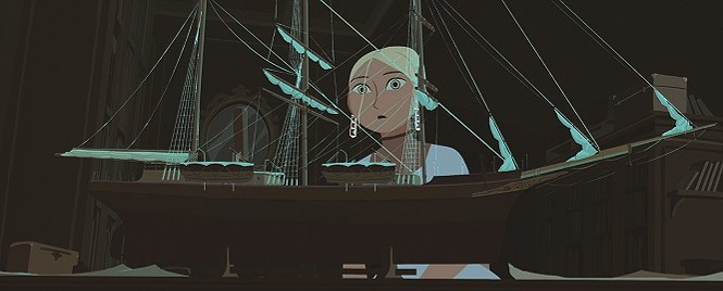 Sasha (Chloe Dunn) studies a model of her grandfather's ship, the Davaï - SHOUT! FACTORY FILMS