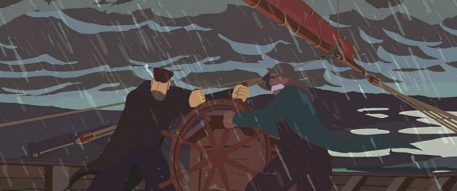 Captain Lund and a sailor weather a storm on board the Norge - SHOUT! FACTORY FILMS