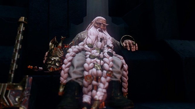 In ancient lore, they say our beards will be threaded like your mother's after she turns 50. - THQ NORDIC