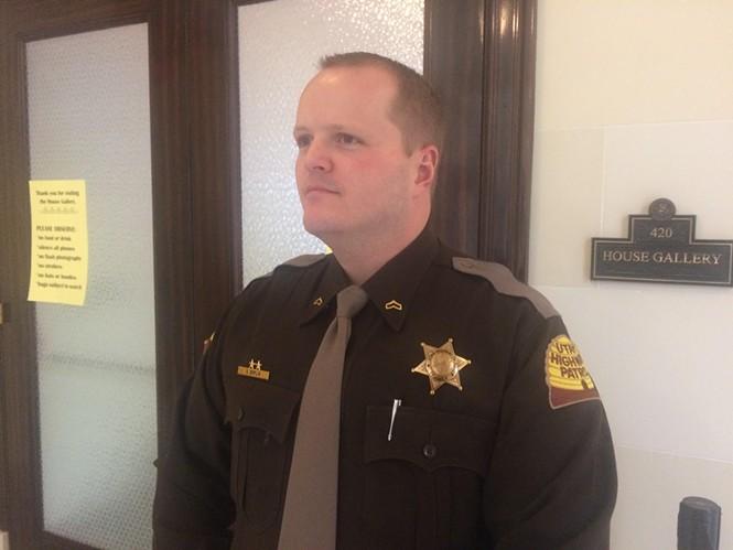 Utah Highway Patrol trooper Stephen Esplin outside the Utah House gallery on Jan. 24, 2017 - ANNIE KNOX
