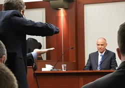 Defense Attorney Scott Williams questions Marc Sessions Jenson. - RICK EGAN