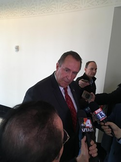 Mark Shurtleff fields questions from the press on Friday, Feb. 24. - DW HARRIS