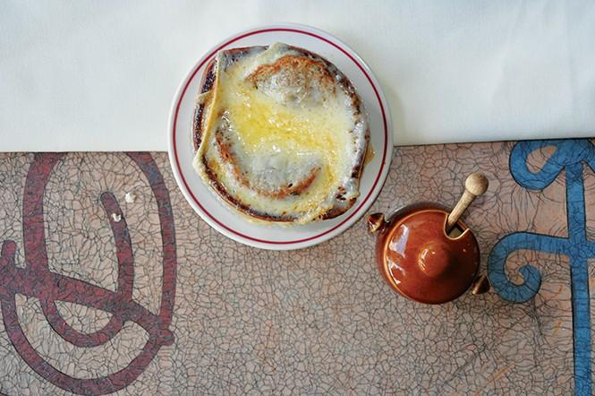 French onion soup at The Paris - DEREK CARLISLE
