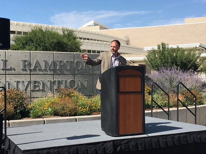 SMG General Manager Dan Hayes speaks outside the Salt Palace Convention Center. - DW HARRIS